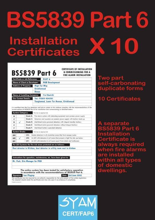 BS5839 Part 6 Installation Certificates